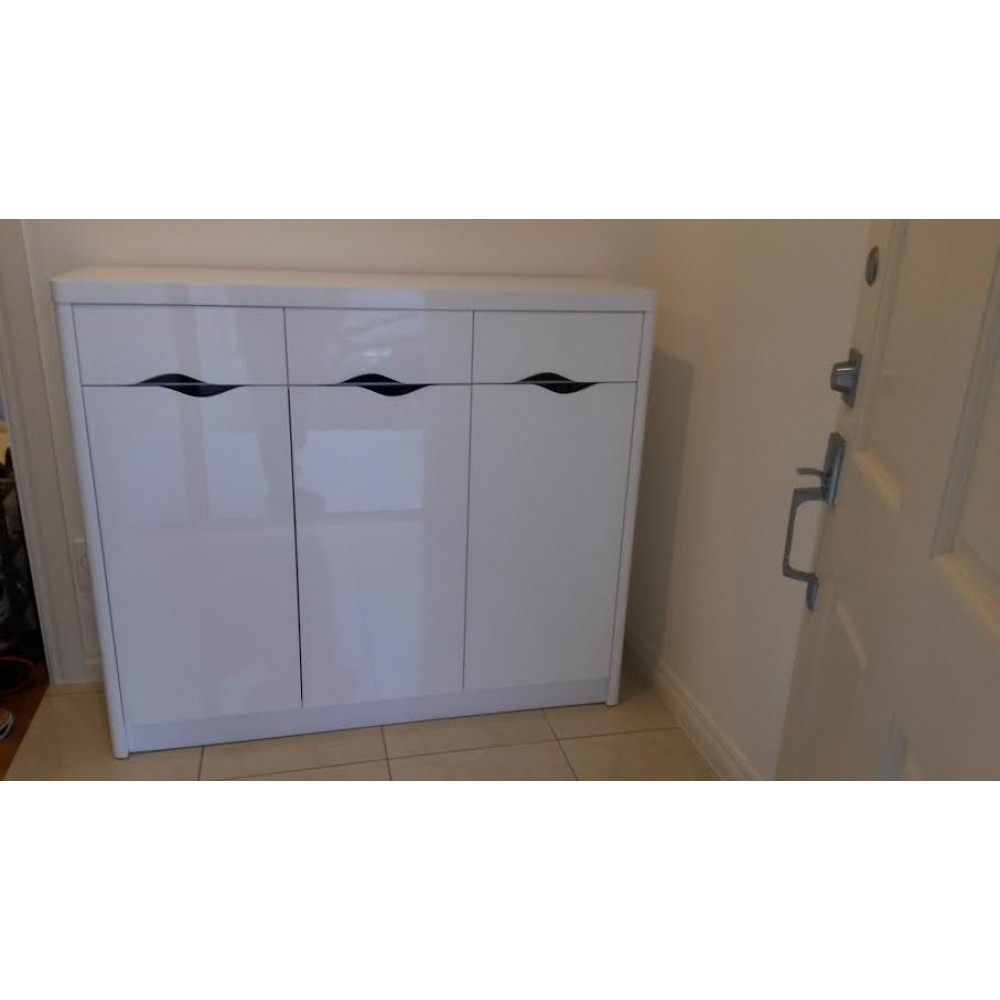 High gloss white 3 doors  shoe cabinet / storage cabinet