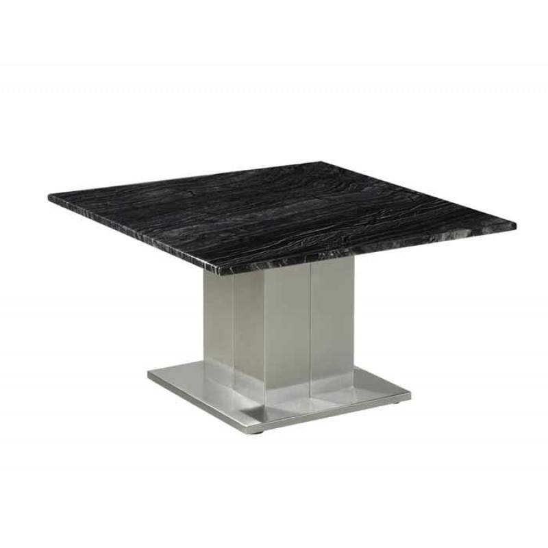 Ryan Marble Stainless Steel Square Coffee Table 60cm: Marble Top Side Table