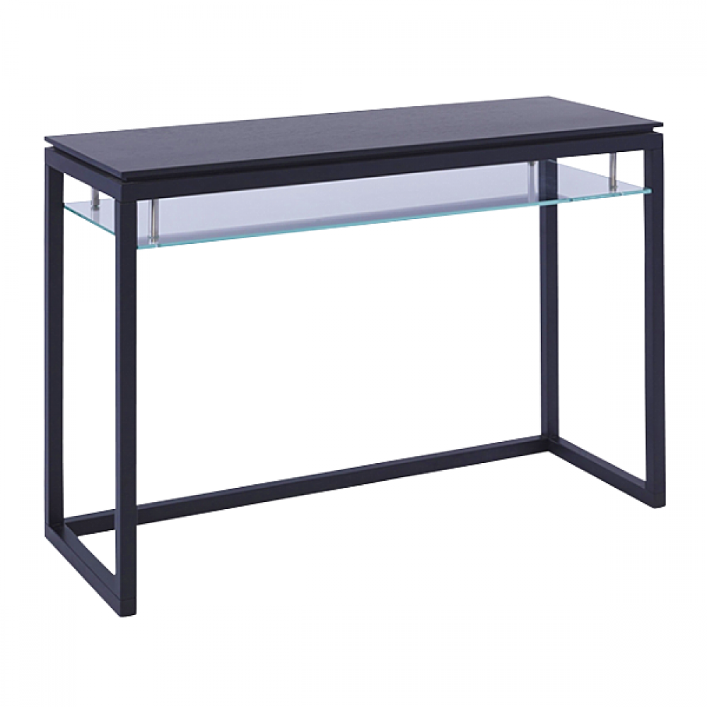 Glass console table - black