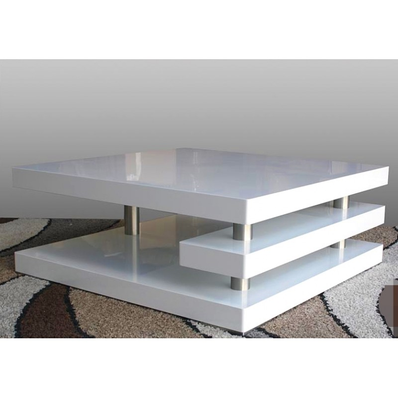 White High Gloss Side End Square 2 Seats Of Coffee Table: Square Coffee Table High Gloss White
