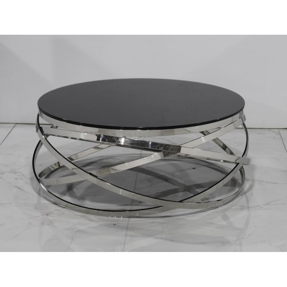 Black glass round coffee table
