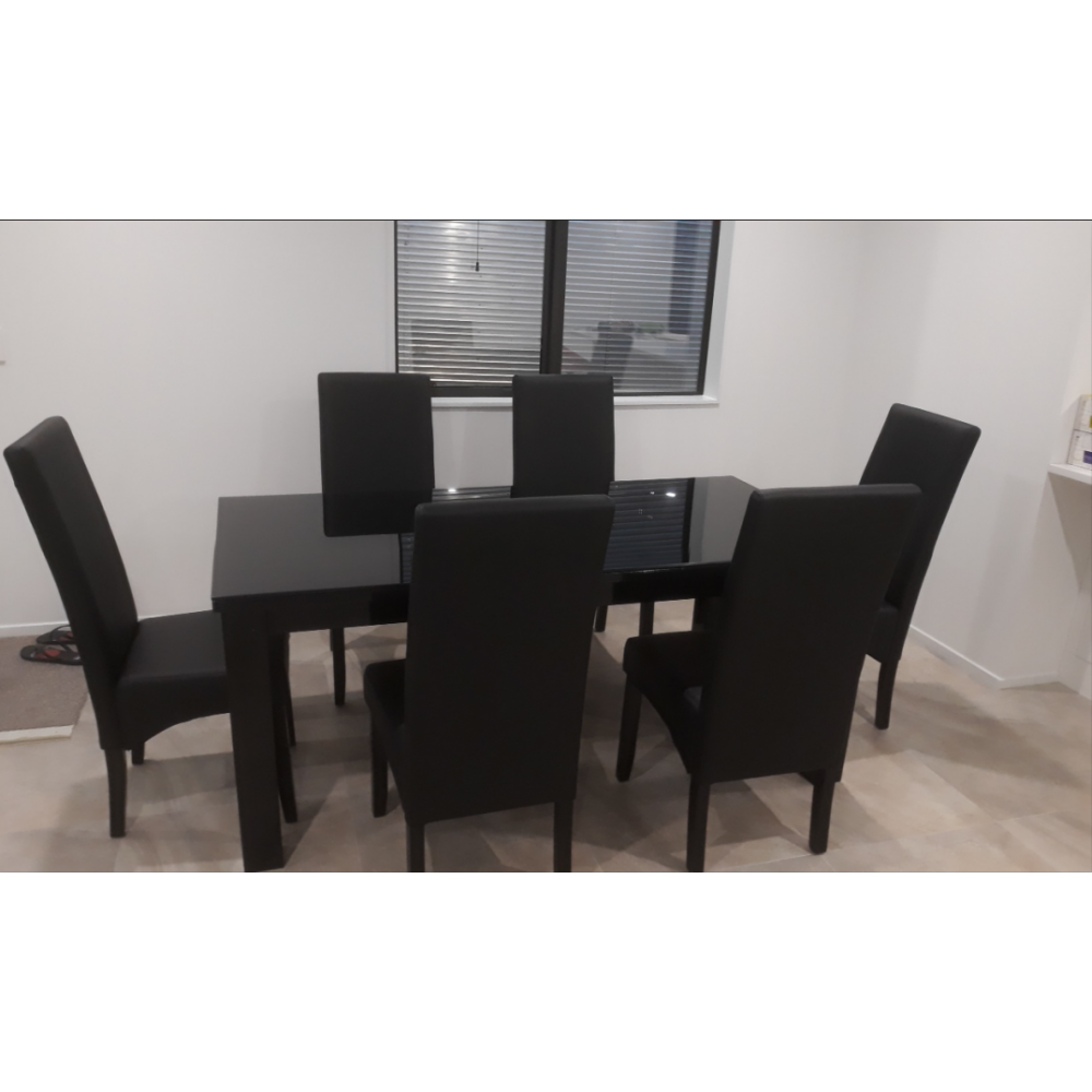 7 Piece Glass top dining table suite -Black