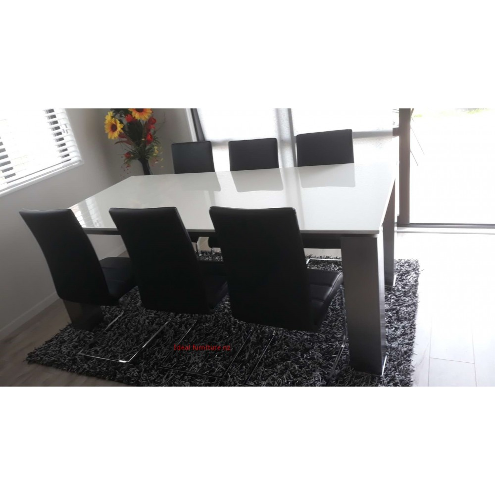 White marble top dining table with 6 chairs
