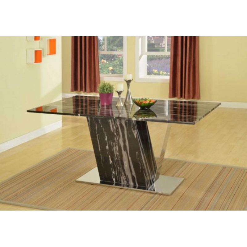 Modern black white marble dining table for Modern marble dining table