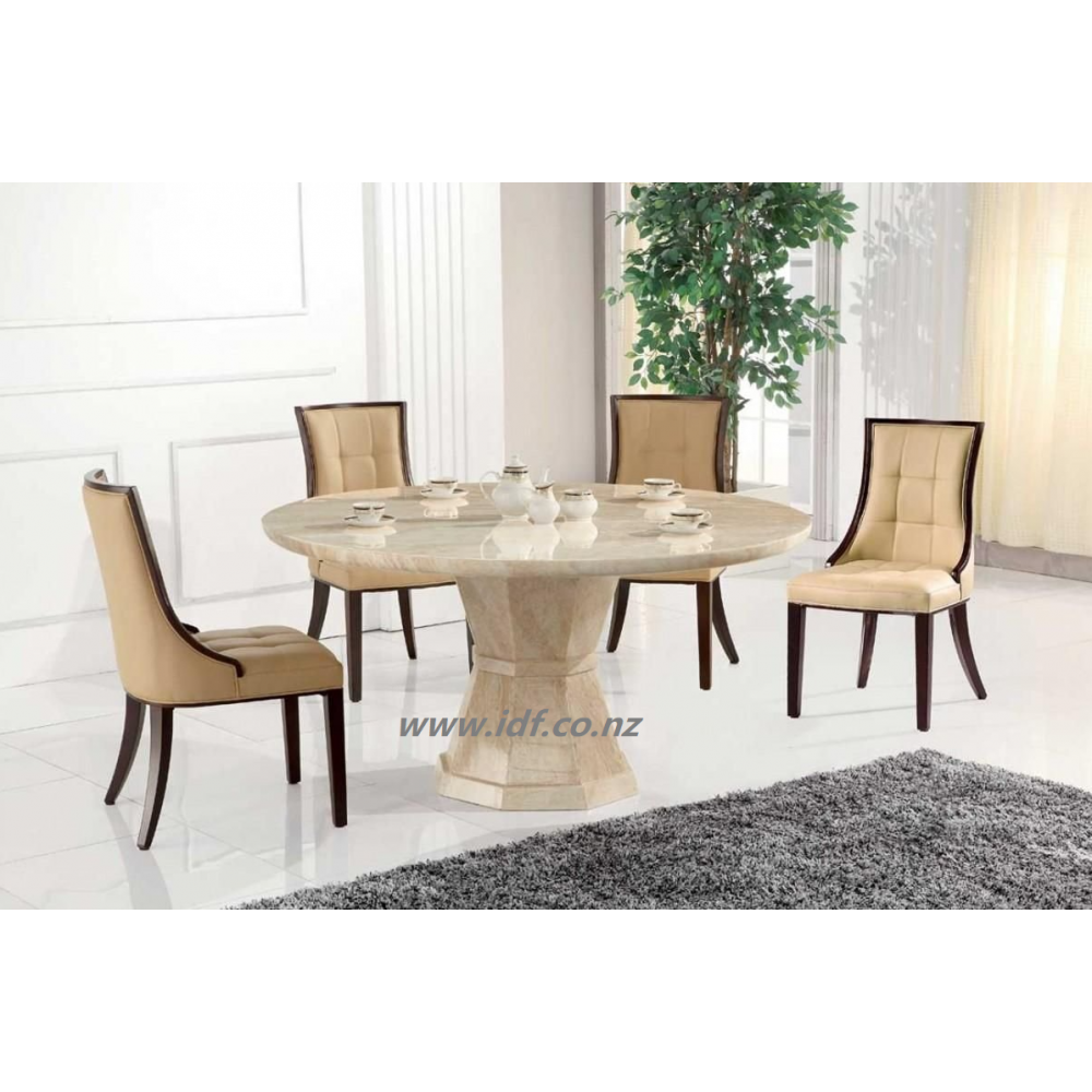 Beige Round marble dining table