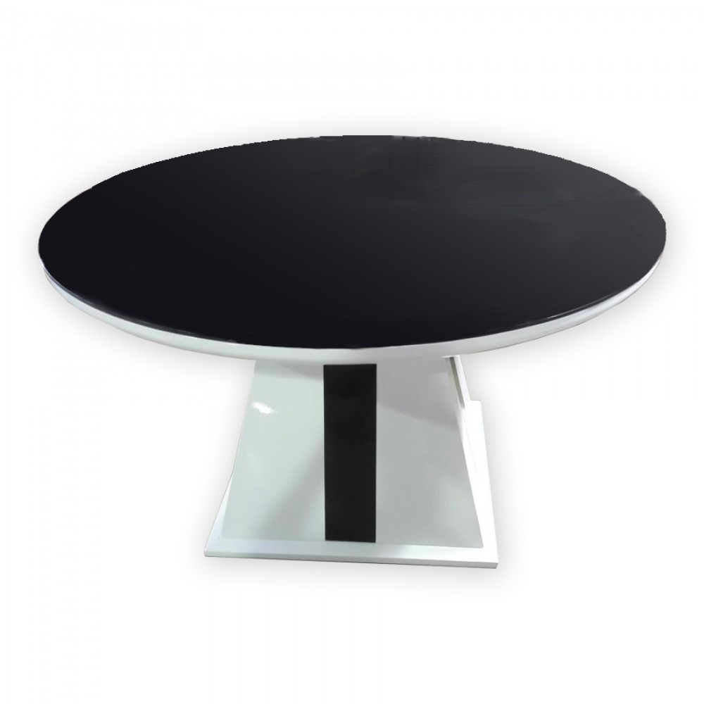 Black glass top round table