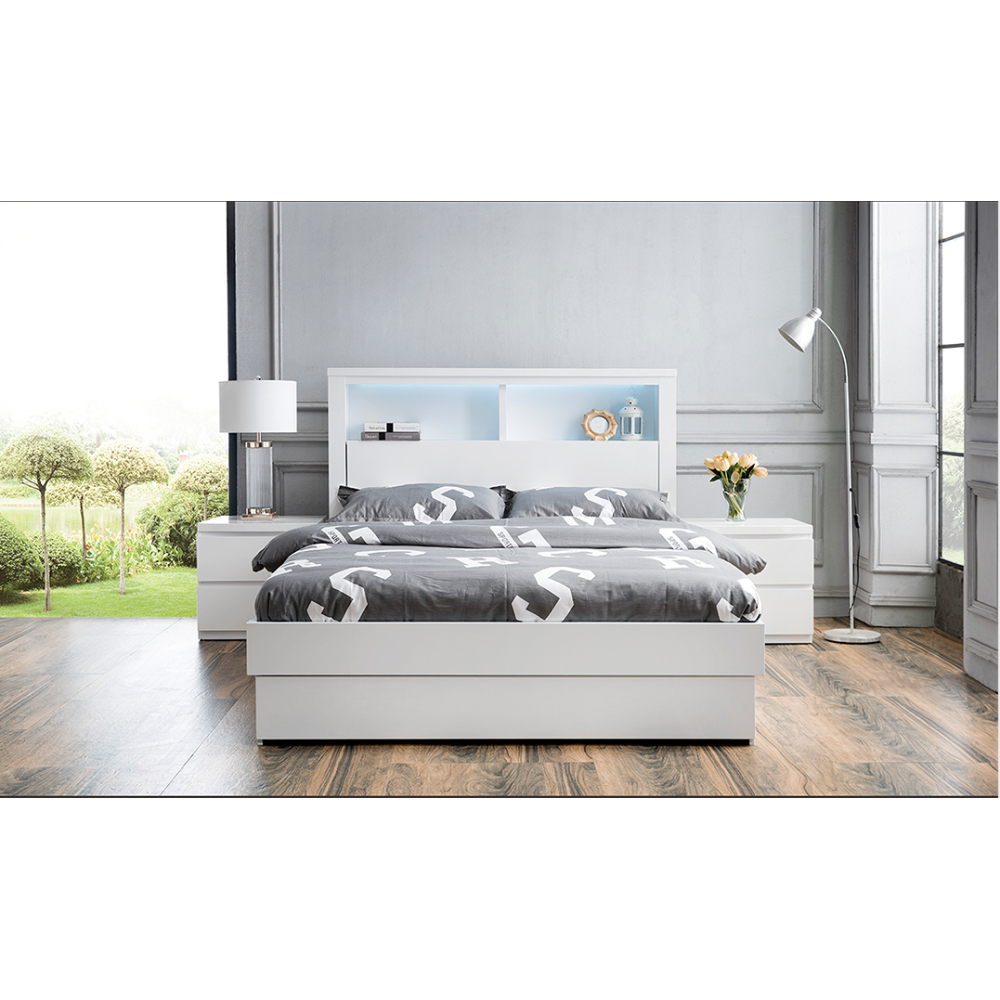 Bookend Bed Frame W/Gas Lift Storage-Super king