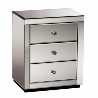 3 drawers mirrored glass bedside cabinet