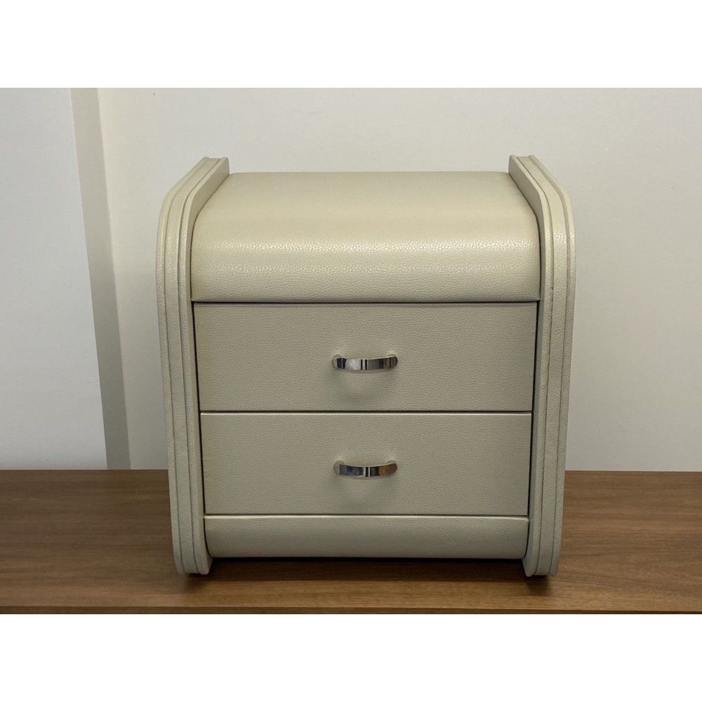 2 Drawers leather bedside cabinet