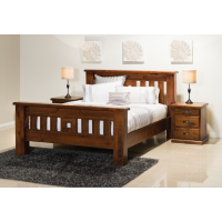 Rough saw cut style king size bed