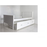 King single trundle bed-KS- White