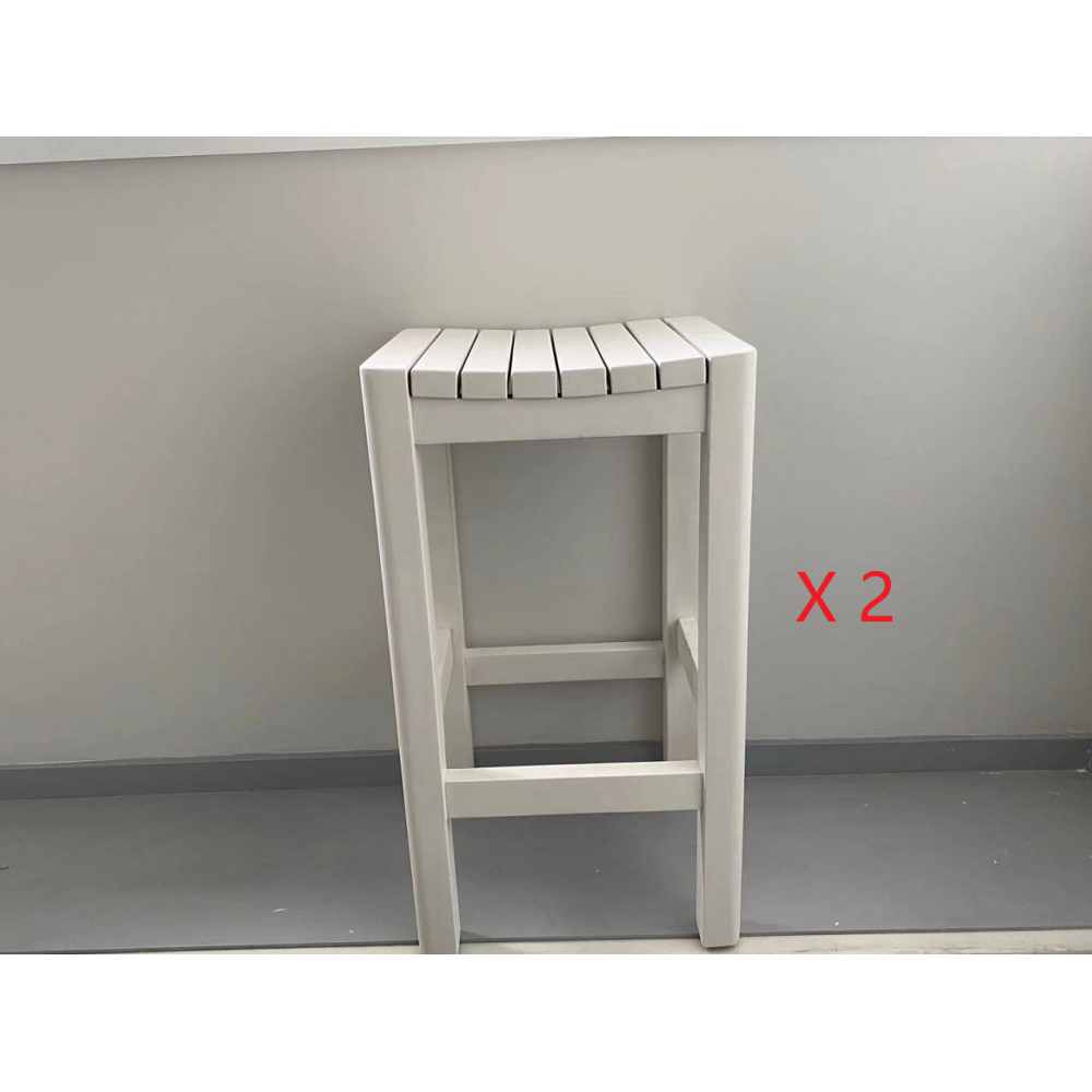 White wooden bar stool package