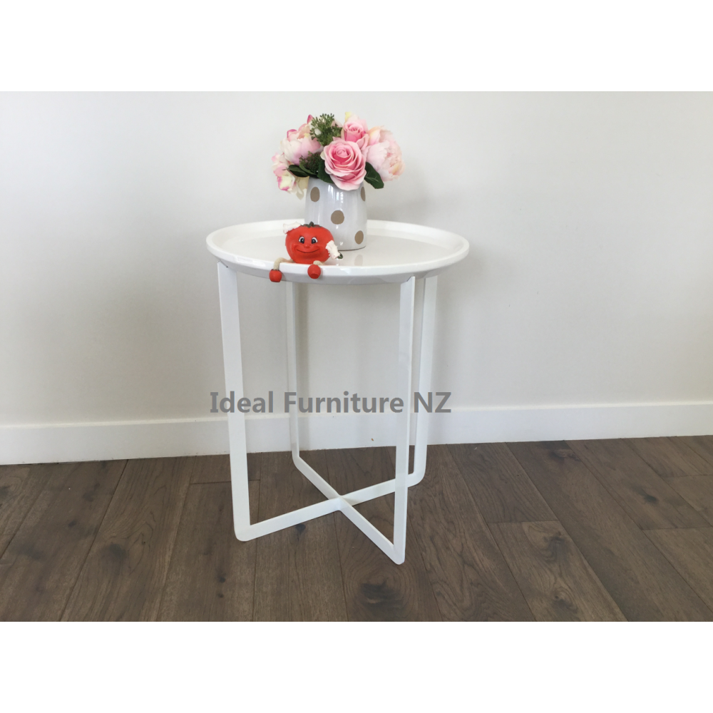 Round Side Table -White