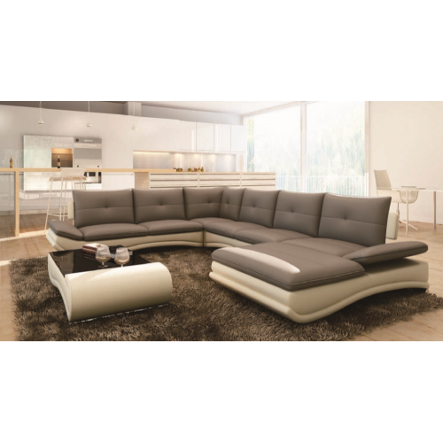 01 U shape Leather Lounge suite