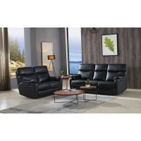 2+3 Seater leather  recliner sofa Black